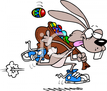 0511-0812-2121-0657 easter bunny running with a sack full of easter eggs clipart image